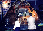 An Apollo space capsule on display.