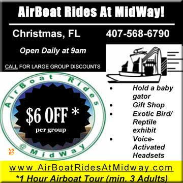Coupon for AirBoat Rides At MidWay - Christmas Florida